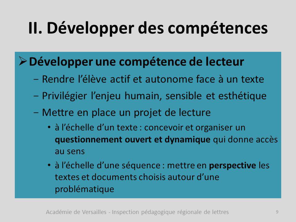 II. Développer des compétences  Développer une compétence de lecteur -Rendre l'élève actif et autonome face à un texte -Privilégier l'enjeu humain, s