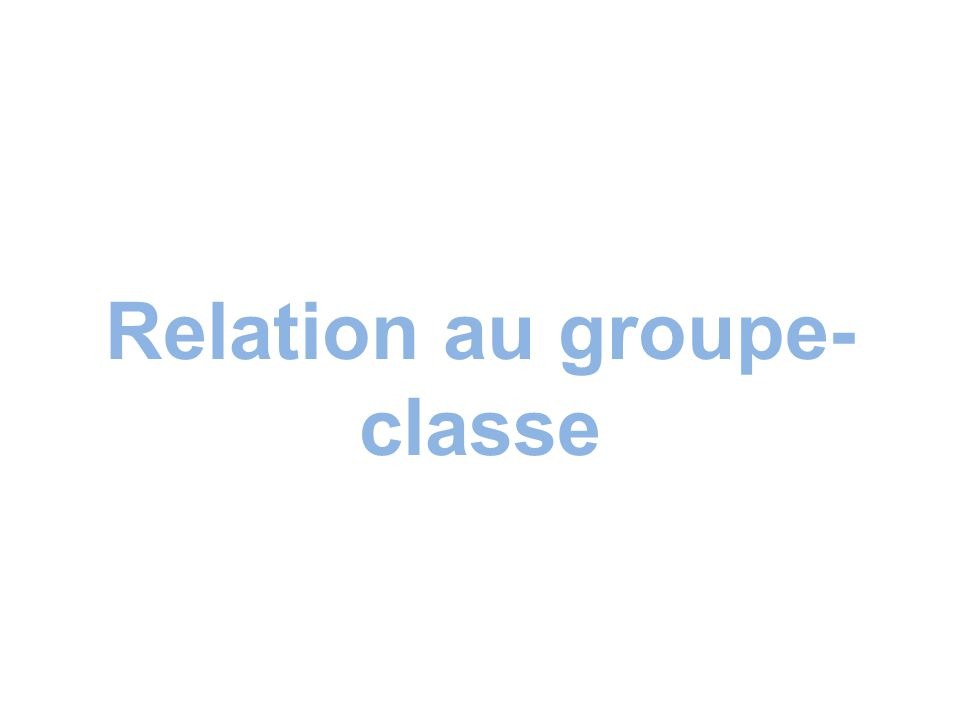 Relation au groupe- classe