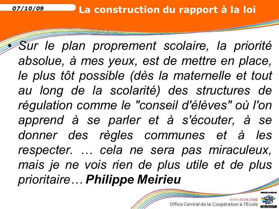 www.occe.coop Office Central de la Coopération à l'Ecole 07/10/09 La construction du rapport à la loi Tout d'abord, des droits qui n'en sont pas… Le droit à l'erreur Peut-on interdire l'erreur?