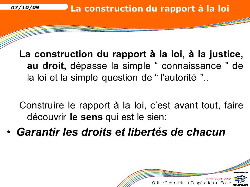 www.occe.coop Office Central de la Coopération à l'Ecole 07/10/09 La construction du rapport à la loi 4 L'articulation droits, devoirs, obligations Les règles de vie