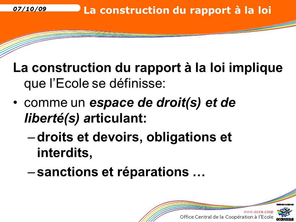 www.occe.coop Office Central de la Coopération à l'Ecole 07/10/09 La construction du rapport à la loi Construire le rapport à la loi à l'école c'est, dans un espace de liberté et de droit clairement défini, éduquer: à l'exercice des droits, c'est à dire éduquer aux droits, à l'exercice de la liberté et de la responsabilité.