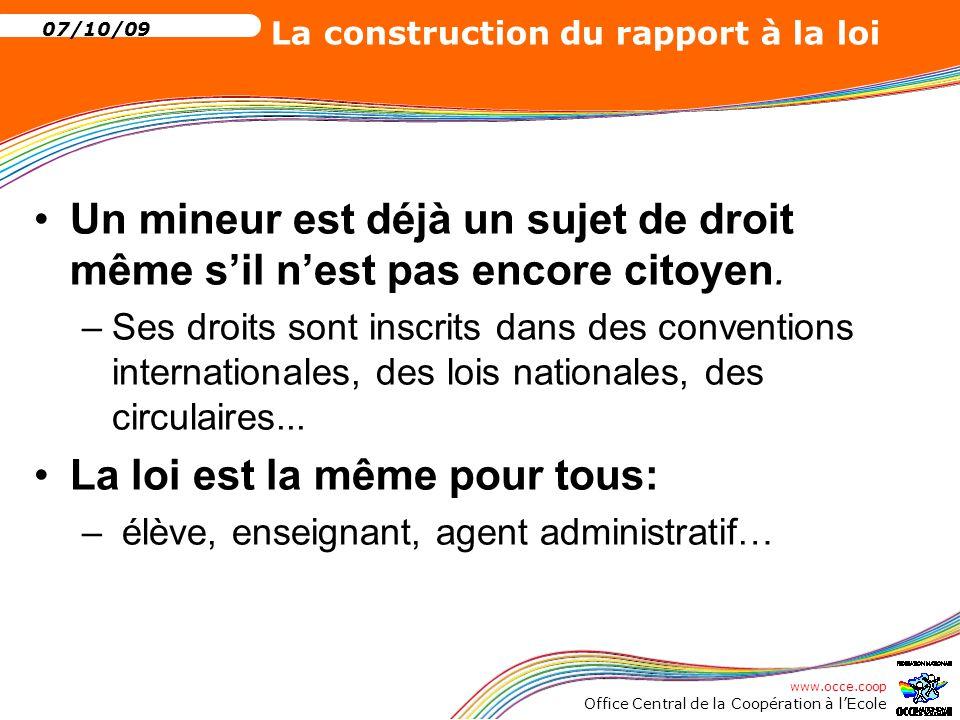 www.occe.coop Office Central de la Coopération à l'Ecole 07/10/09 La construction du rapport à la loi Nul ne peut être mis en cause pour un acte qui ne porte tort qu'à lui-même: –Le travail est-il « en droit » une obligation ou un droit.