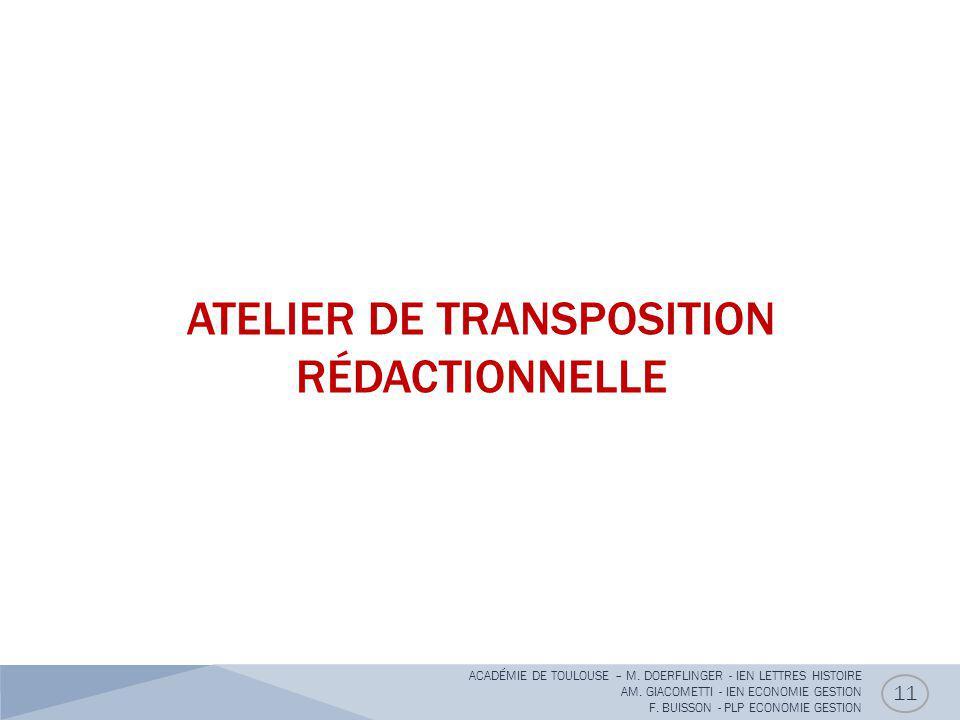 ATELIER DE TRANSPOSITION RÉDACTIONNELLE 11 ACADÉMIE DE TOULOUSE – M. DOERFLINGER - IEN LETTRES HISTOIRE AM. GIACOMETTI - IEN ECONOMIE GESTION F. BUISS