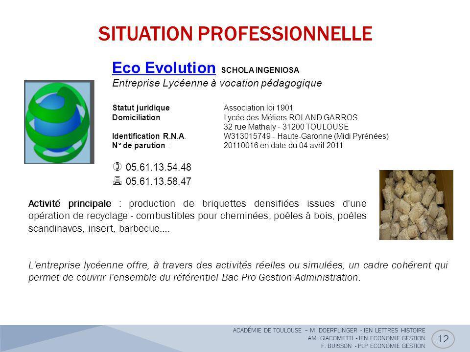 SITUATION PROFESSIONNELLE 12 Eco EvolutionEco Evolution SCHOLA INGENIOSA Entreprise Lycéenne à vocation pédagogique Statut juridique Association loi 1