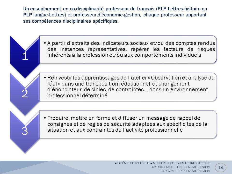 Un enseignement en co-disciplinarité professeur de français (PLP Lettres-histoire ou PLP langue-Lettres) et professeur d'économie-gestion, chaque professeur apportant ses compétences disciplinaires spécifiques.