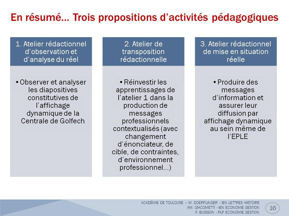En résumé… Trois propositions d'activités pédagogiques 16 ACADÉMIE DE TOULOUSE – M. DOERFLINGER - IEN LETTRES HISTOIRE AM. GIACOMETTI - IEN ECONOMIE G