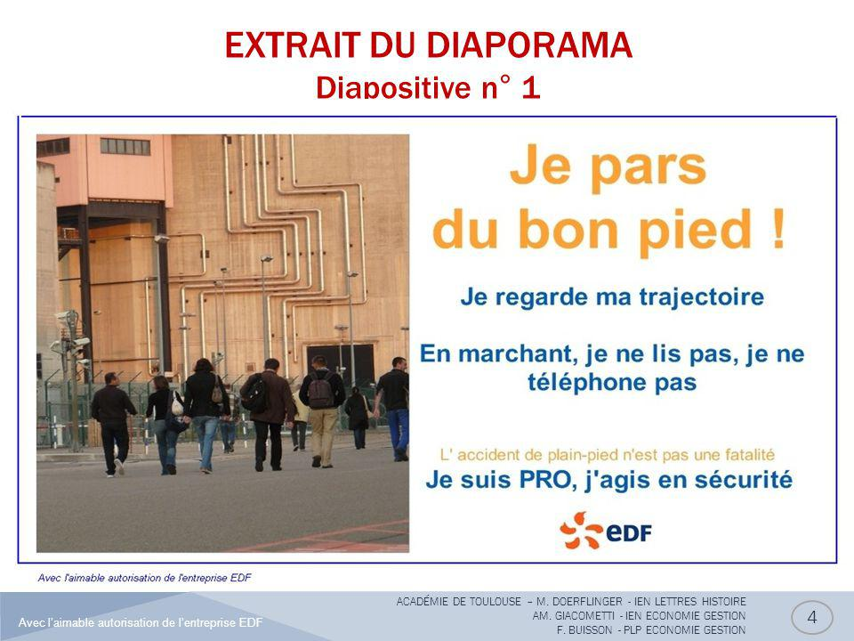 EXTRAIT DU DIAPORAMA Diapositive n° 1 4 ACADÉMIE DE TOULOUSE – M. DOERFLINGER - IEN LETTRES HISTOIRE AM. GIACOMETTI - IEN ECONOMIE GESTION F. BUISSON