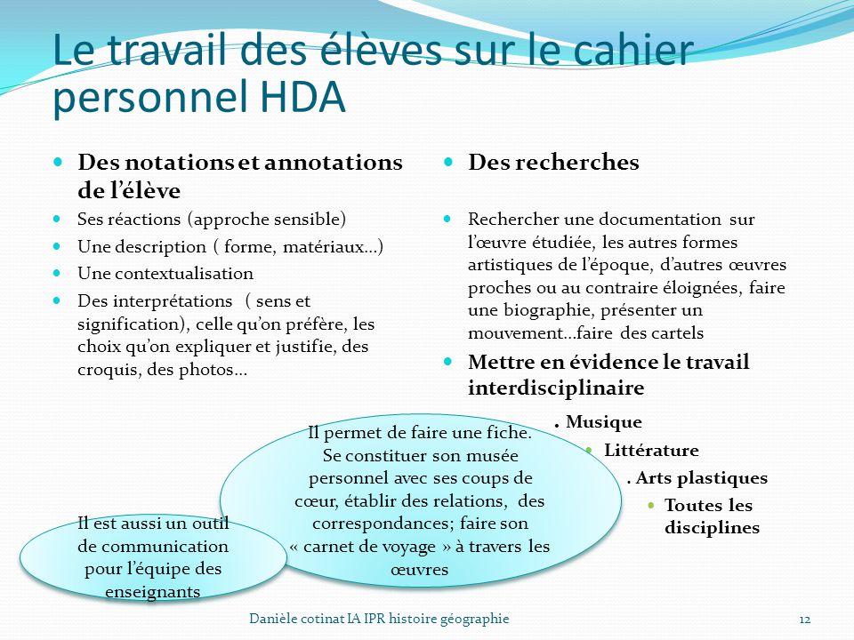 12 Le travail des élèves sur le cahier personnel HDA Des notations et annotations de l'élève Ses réactions (approche sensible) Une description ( forme