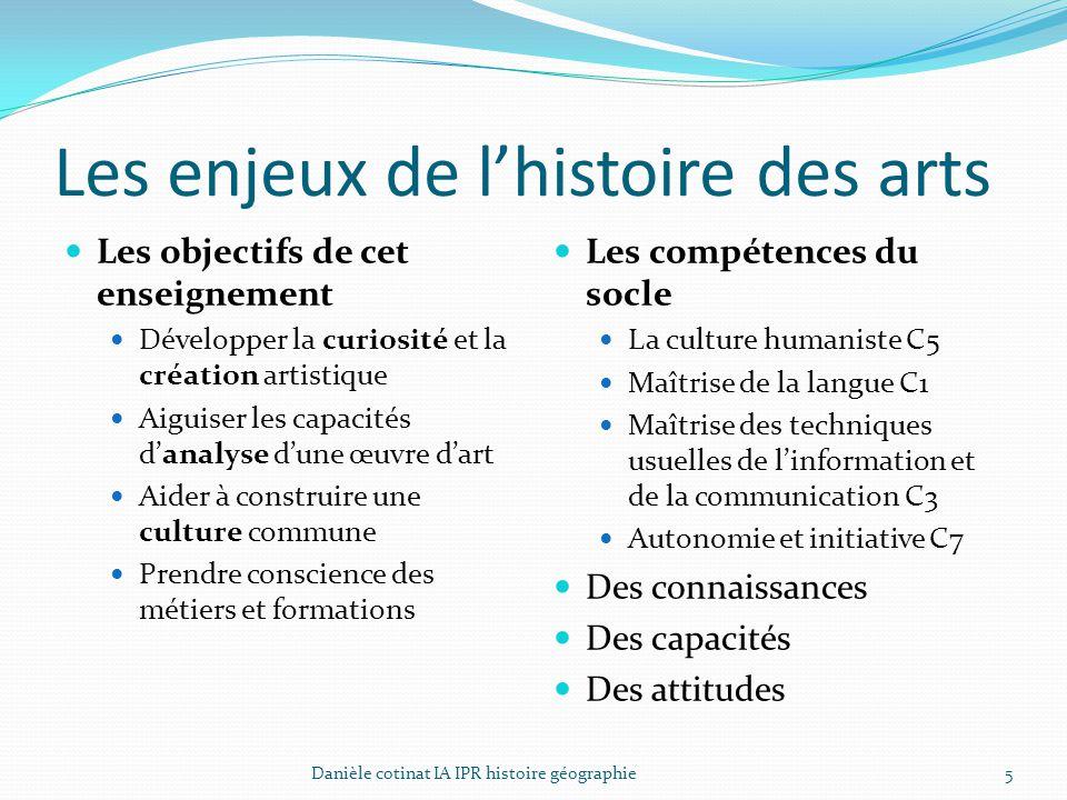 Les enjeux de l'histoire des arts Les objectifs de cet enseignement Développer la curiosité et la création artistique Aiguiser les capacités d'analyse
