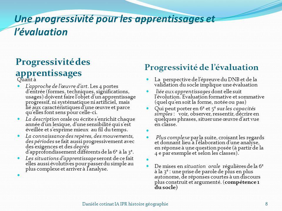 Une progressivité pour les apprentissages et l'évaluation Progressivité des apprentissages Progressivité de l'évaluation Quant à L'approche de l'œuvre