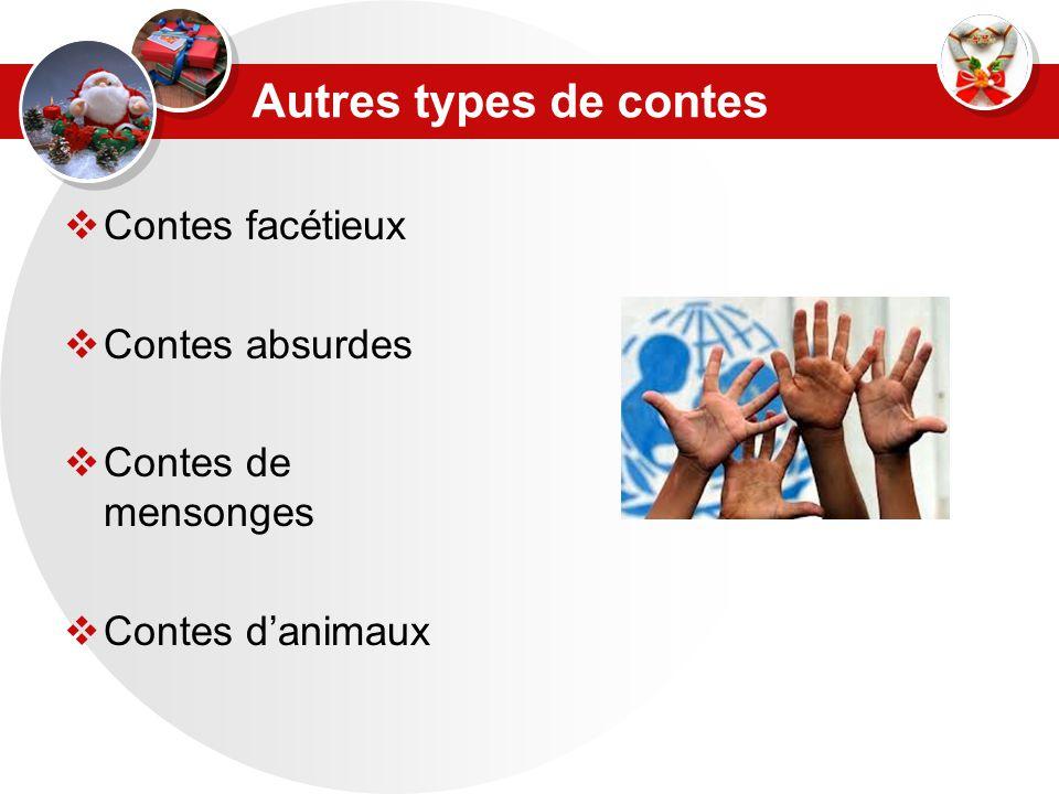 Autres types de contes  Contes facétieux  Contes absurdes  Contes de mensonges  Contes d'animaux