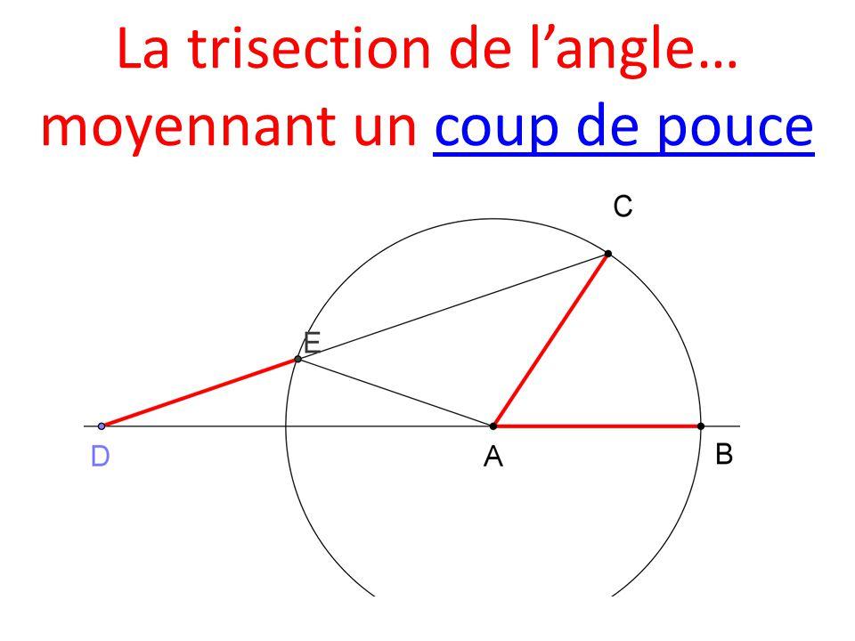 La trisection de l'angle… moyennant un coup de poucecoup de pouce