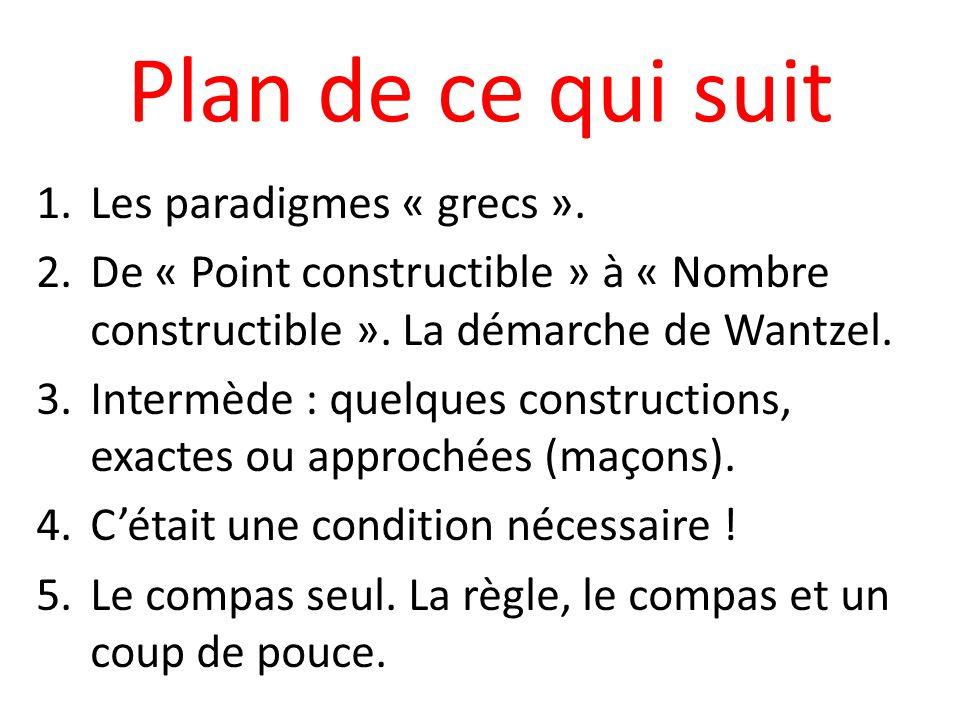 Plan de ce qui suit 1.Les paradigmes « grecs ». 2.De « Point constructible » à « Nombre constructible ». La démarche de Wantzel. 3.Intermède : quelque