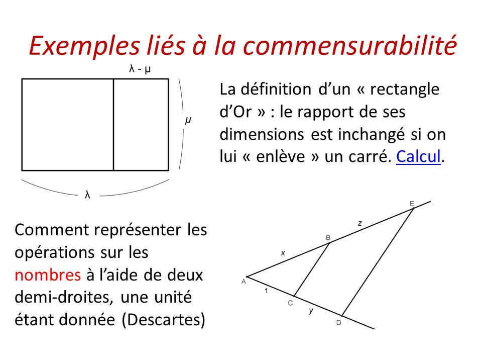 Exemples liés à la commensurabilité La définition d'un « rectangle d'Or » : le rapport de ses dimensions est inchangé si on lui « enlève » un carré. C