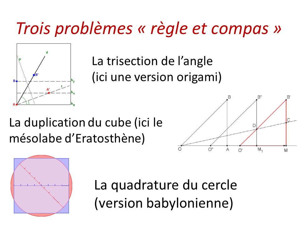Trois problèmes « règle et compas » La trisection de l'angle (ici une version origami) La duplication du cube (ici le mésolabe d'Eratosthène) La quadr