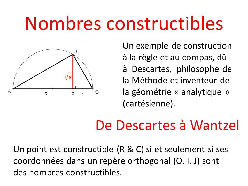Nombres constructibles Un exemple de construction à la règle et au compas, dû à Descartes, philosophe de la Méthode et inventeur de la géométrie « ana