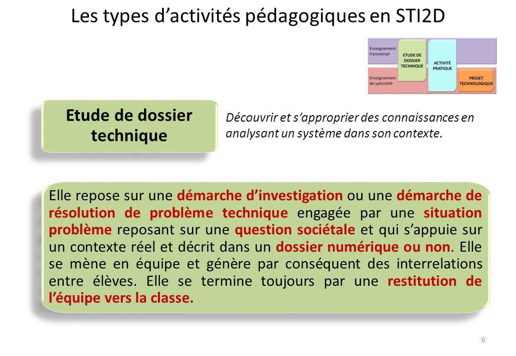 Les types d'activités pédagogiques en STI2D Etude de dossier technique Elle repose sur une démarche d'investigation ou une démarche de résolution de p