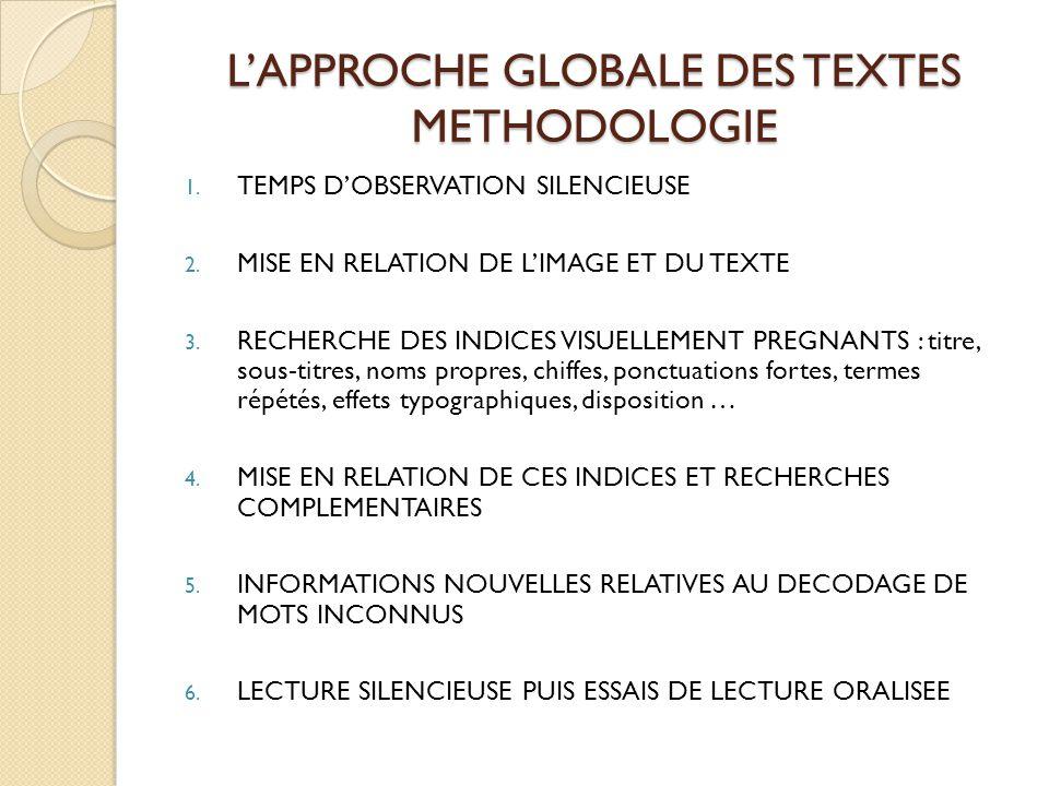L'APPROCHE GLOBALE DES TEXTES METHODOLOGIE 1. TEMPS D'OBSERVATION SILENCIEUSE 2. MISE EN RELATION DE L'IMAGE ET DU TEXTE 3. RECHERCHE DES INDICES VISU