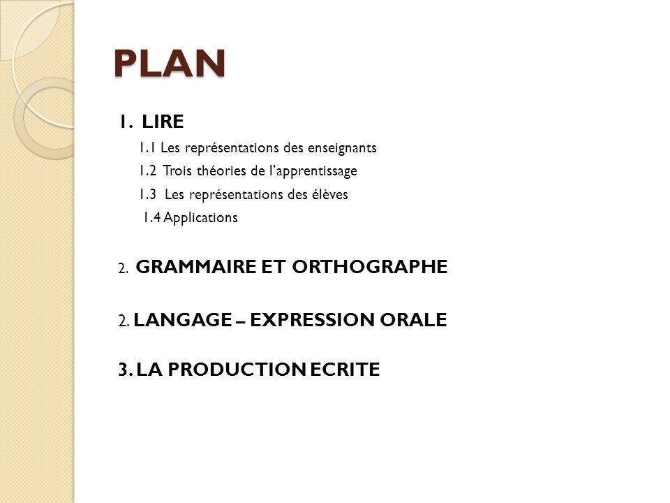 PLAN 1. LIRE 1.1 Les représentations des enseignants 1.2 Trois théories de l'apprentissage 1.3 Les représentations des élèves 1.4 Applications 2. GRAM
