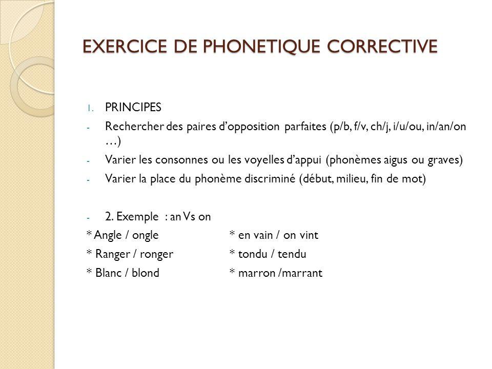EXERCICE DE PHONETIQUE CORRECTIVE 1. PRINCIPES - Rechercher des paires d'opposition parfaites (p/b, f/v, ch/j, i/u/ou, in/an/on …) - Varier les conson