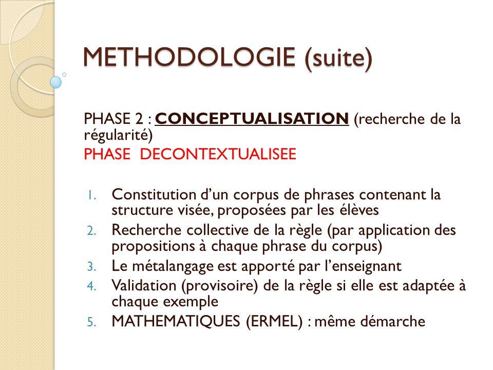 METHODOLOGIE (suite) PHASE 2 : CONCEPTUALISATION (recherche de la régularité) PHASE DECONTEXTUALISEE 1. Constitution d'un corpus de phrases contenant