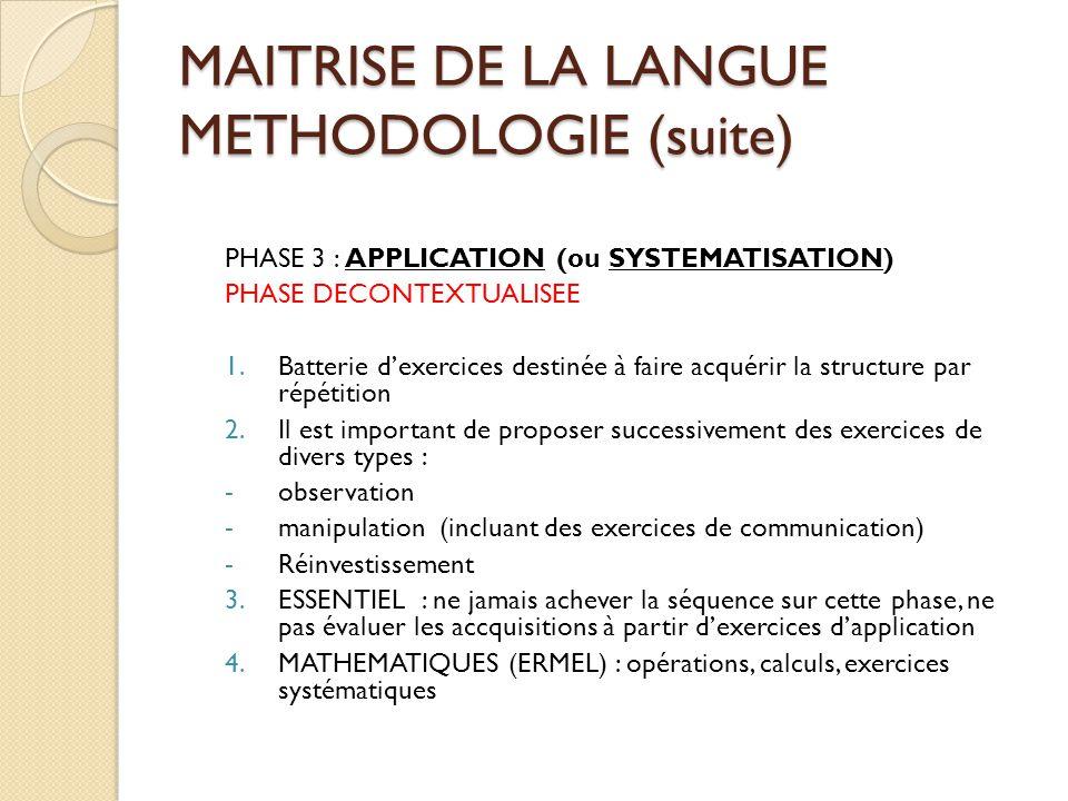 MAITRISE DE LA LANGUE METHODOLOGIE (suite) PHASE 3 : APPLICATION (ou SYSTEMATISATION) PHASE DECONTEXTUALISEE 1.Batterie d'exercices destinée à faire a