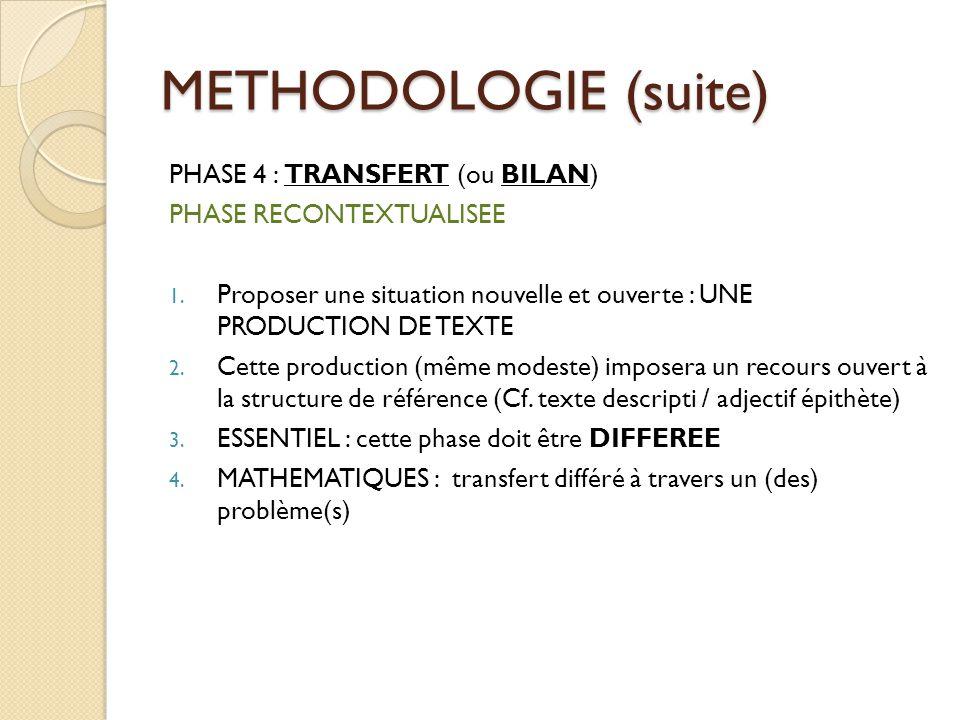 METHODOLOGIE (suite) PHASE 4 : TRANSFERT (ou BILAN) PHASE RECONTEXTUALISEE 1. Proposer une situation nouvelle et ouverte : UNE PRODUCTION DE TEXTE 2.