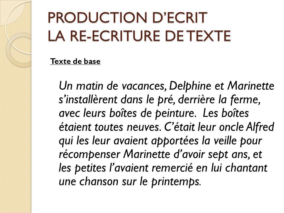 PRODUCTION D'ECRIT LA RE-ECRITURE DE TEXTE Texte de base Un matin de vacances, Delphine et Marinette s'installèrent dans le pré, derrière la ferme, av