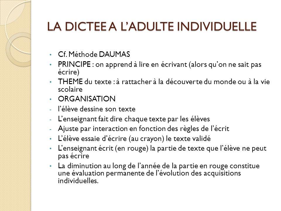 LA DICTEE A L'ADULTE INDIVIDUELLE Cf. Méthode DAUMAS PRINCIPE : on apprend à lire en écrivant (alors qu'on ne sait pas écrire) THEME du texte : à ratt
