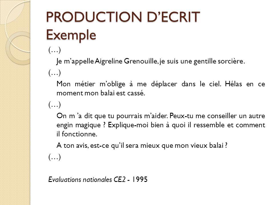 PRODUCTION D'ECRIT Exemple (…) Je m'appelle Aigreline Grenouille, je suis une gentille sorcière. (…) Mon métier m'oblige à me déplacer dans le ciel. H