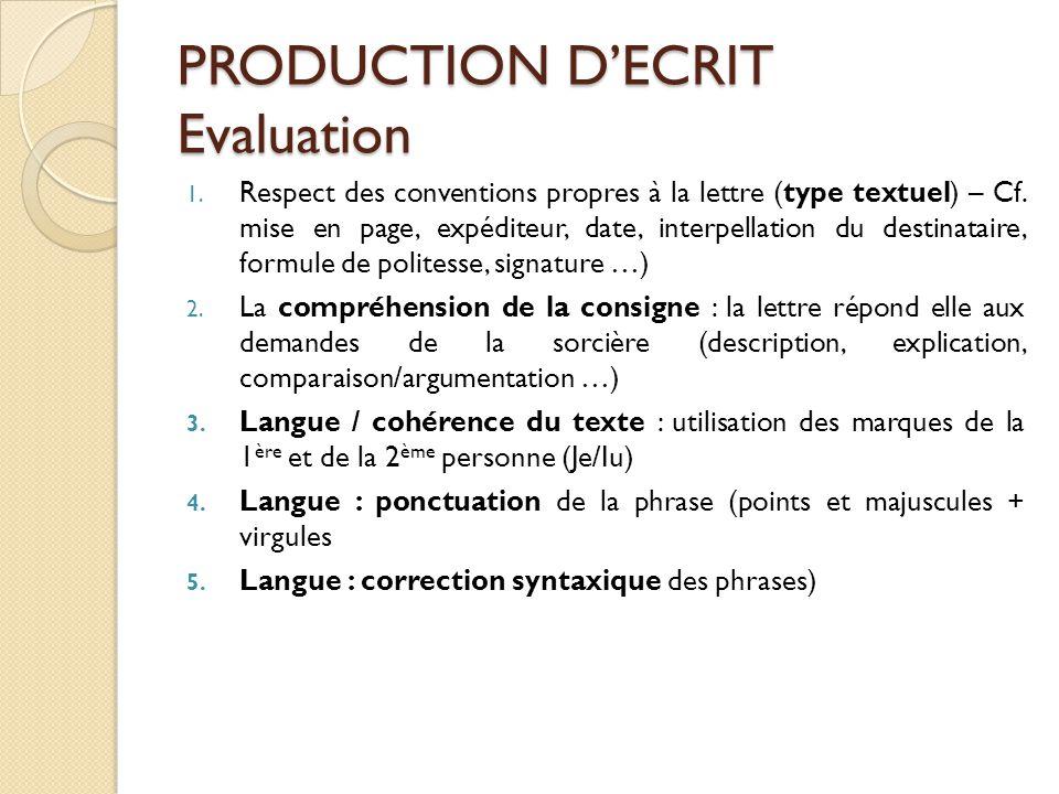 PRODUCTION D'ECRIT Evaluation 1. Respect des conventions propres à la lettre (type textuel) – Cf. mise en page, expéditeur, date, interpellation du de