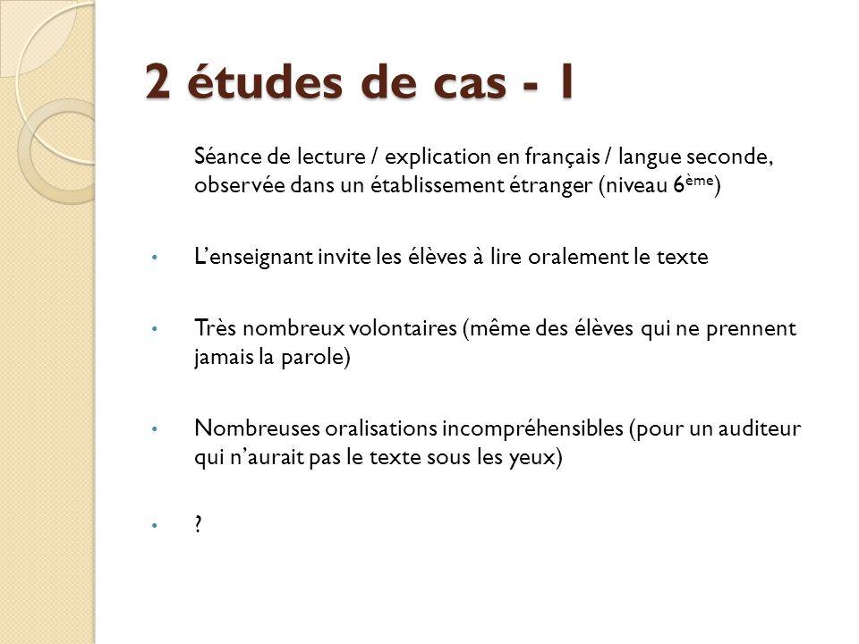 2 études de cas - 1 Séance de lecture / explication en français / langue seconde, observée dans un établissement étranger (niveau 6 ème ) L'enseignant