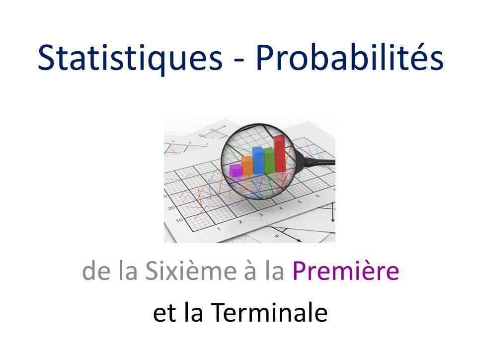de la Sixième à la Première et la Terminale Statistiques - Probabilités