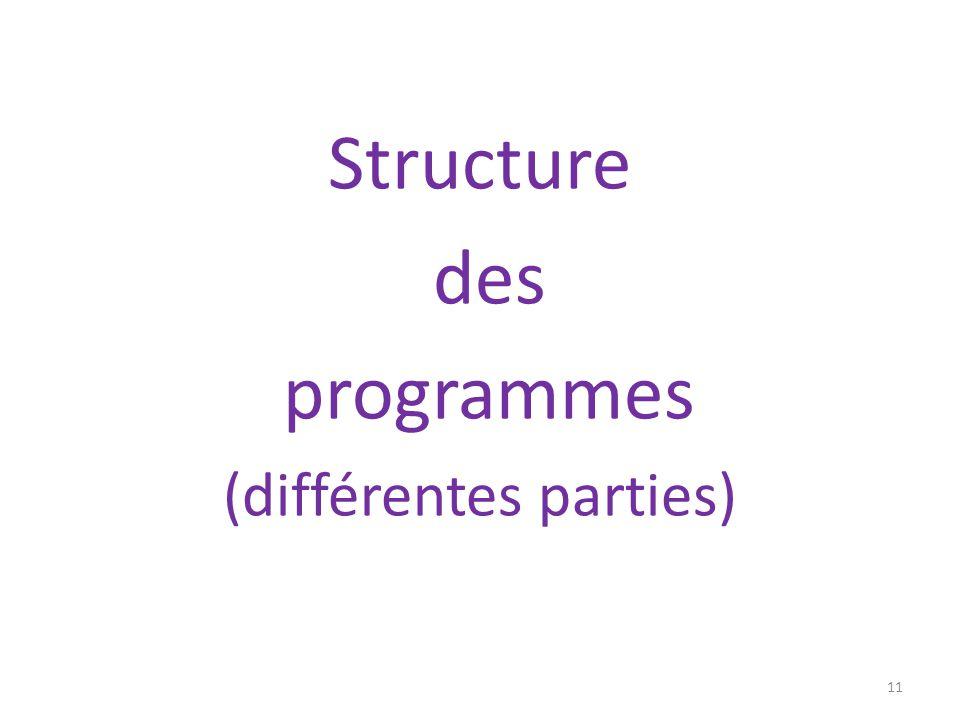 Structure des programmes (différentes parties) 11