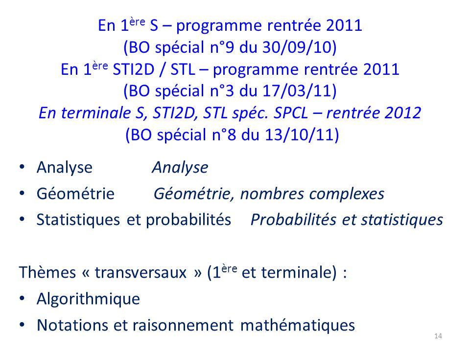 En 1 ère S – programme rentrée 2011 (BO spécial n°9 du 30/09/10) En 1 ère STI2D / STL – programme rentrée 2011 (BO spécial n°3 du 17/03/11) En terminale S, STI2D, STL spéc.