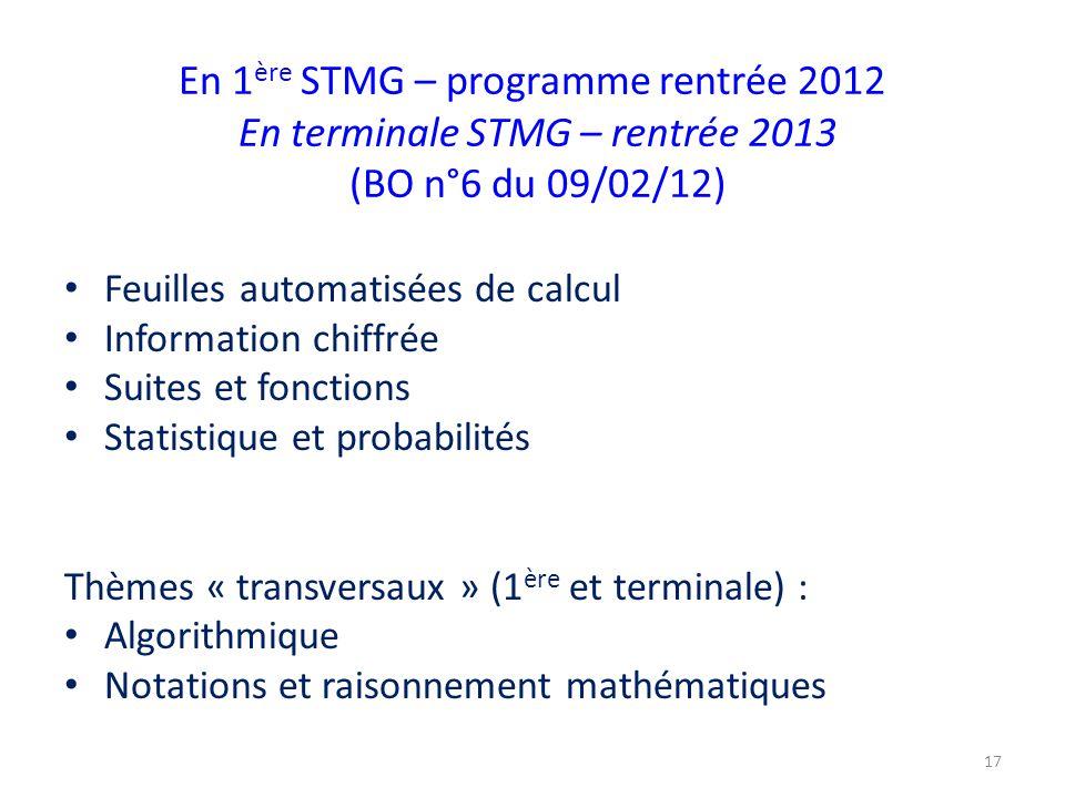 En 1 ère STMG – programme rentrée 2012 En terminale STMG – rentrée 2013 (BO n°6 du 09/02/12) Feuilles automatisées de calcul Information chiffrée Suit