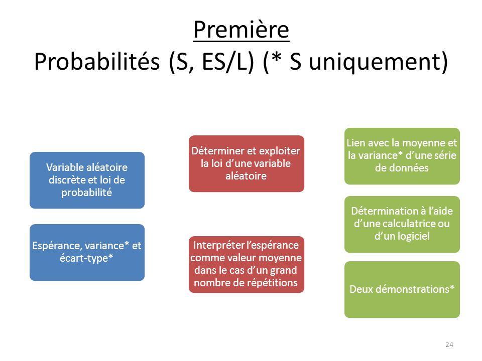Première Probabilités (S, ES/L) (* S uniquement) Variable aléatoire discrète et loi de probabilité Déterminer et exploiter la loi d'une variable aléatoire Lien avec la moyenne et la variance* d'une série de données Détermination à l'aide d'une calculatrice ou d'un logiciel Interpréter l'espérance comme valeur moyenne dans le cas d'un grand nombre de répétitions Deux démonstrations* Espérance, variance* et écart-type* 24
