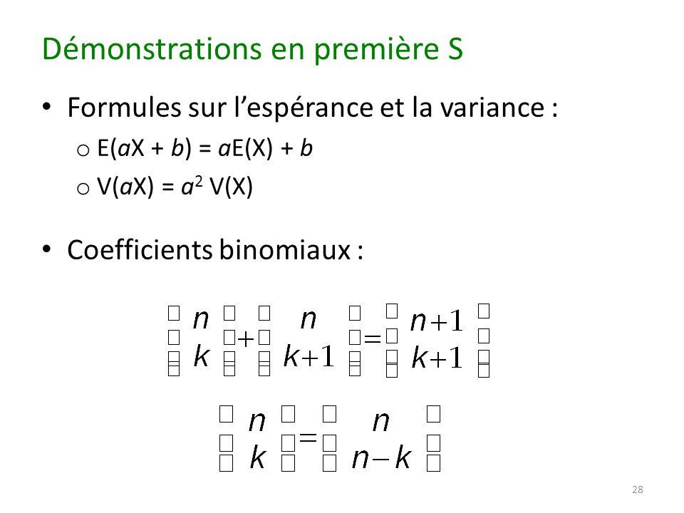 Démonstrations en première S Formules sur l'espérance et la variance : o E(aX + b) = aE(X) + b o V(aX) = a 2 V(X) Coefficients binomiaux : 28