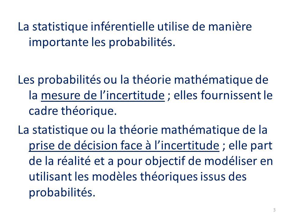 La statistique inférentielle utilise de manière importante les probabilités. Les probabilités ou la théorie mathématique de la mesure de l'incertitude