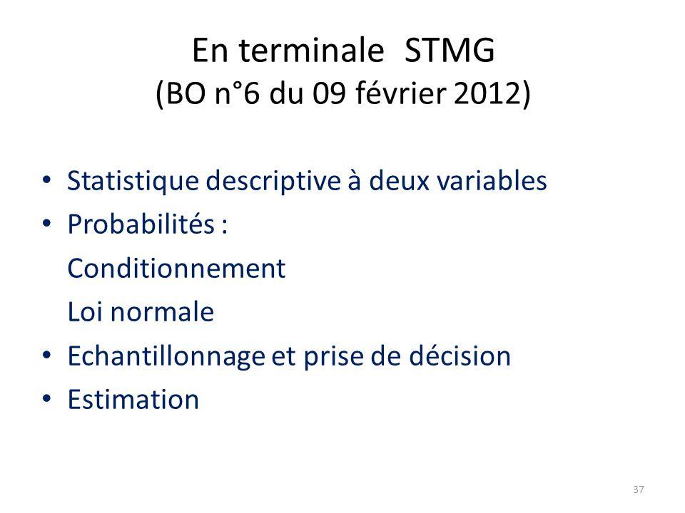En terminale STMG (BO n°6 du 09 février 2012) Statistique descriptive à deux variables Probabilités : Conditionnement Loi normale Echantillonnage et p