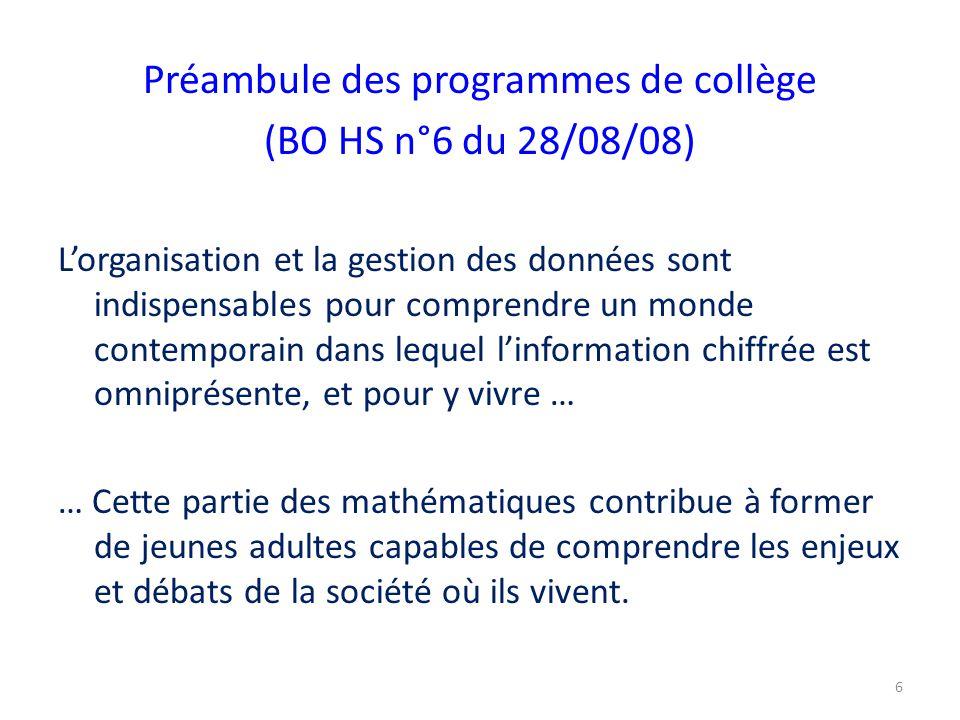 Préambule des programmes de collège (BO HS n°6 du 28/08/08) L'organisation et la gestion des données sont indispensables pour comprendre un monde cont