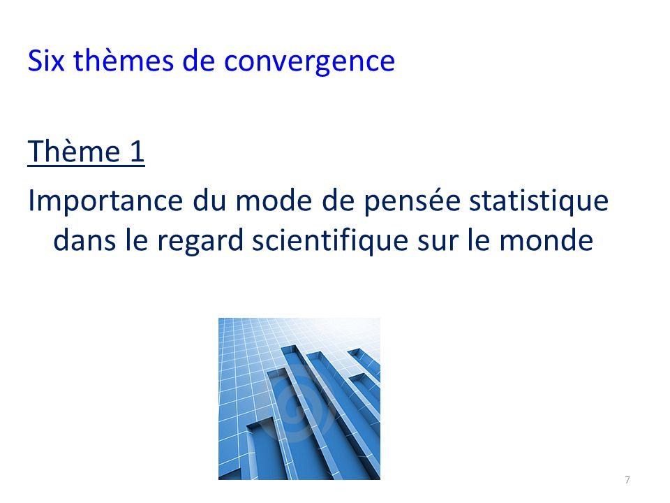 Six thèmes de convergence Thème 1 Importance du mode de pensée statistique dans le regard scientifique sur le monde 7