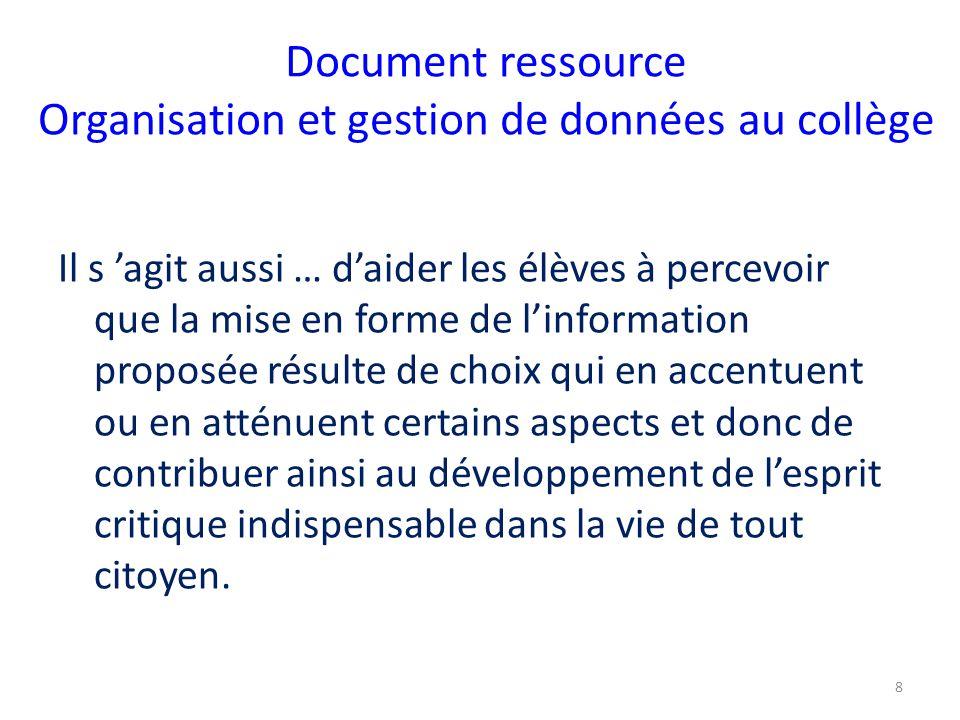 Document ressource Organisation et gestion de données au collège Il s 'agit aussi … d'aider les élèves à percevoir que la mise en forme de l'informati