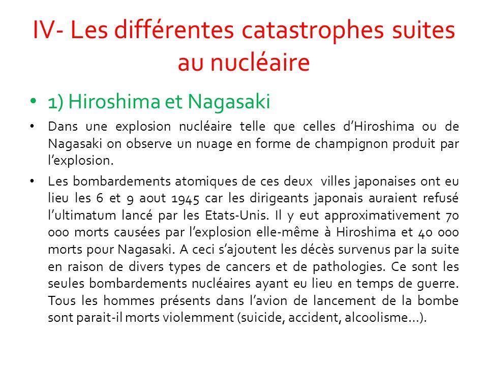 IV- Les différentes catastrophes suites au nucléaire 1) Hiroshima et Nagasaki Dans une explosion nucléaire telle que celles d'Hiroshima ou de Nagasaki