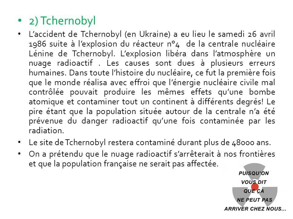 2) Tchernobyl L'accident de Tchernobyl (en Ukraine) a eu lieu le samedi 26 avril 1986 suite à l'explosion du réacteur n°4 de la centrale nucléaire Lén