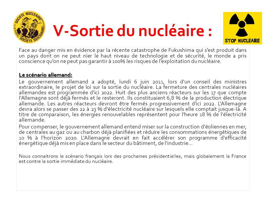 V-Sortie du nucléaire : Face au danger mis en évidence par la récente catastrophe de Fukushima qui s'est produit dans un pays dont on ne peut nier le