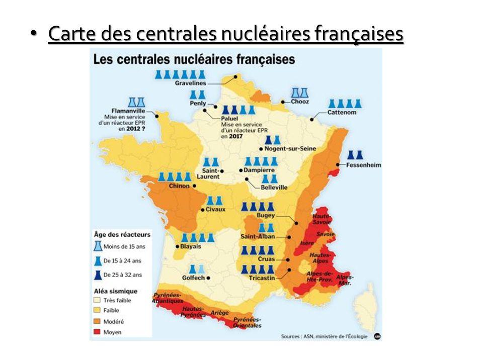 Carte des centrales nucléaires françaises Carte des centrales nucléaires françaises