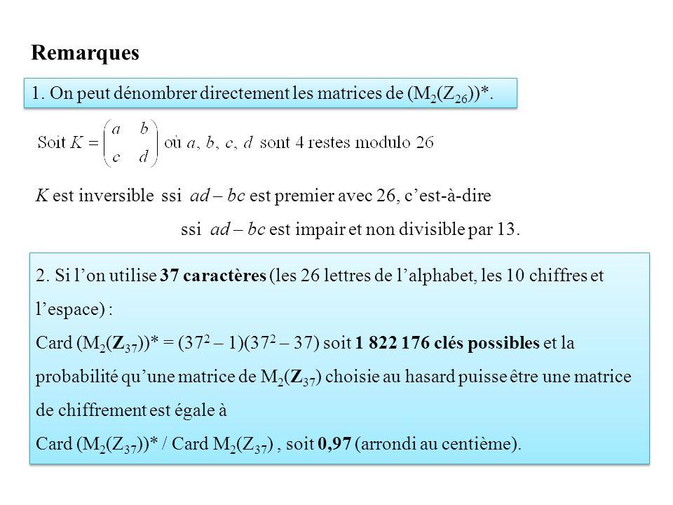 1. On peut dénombrer directement les matrices de (M 2 (Z 26 ))*. K est inversible ssi ad – bc est premier avec 26, c'est-à-dire ssi ad – bc est impair