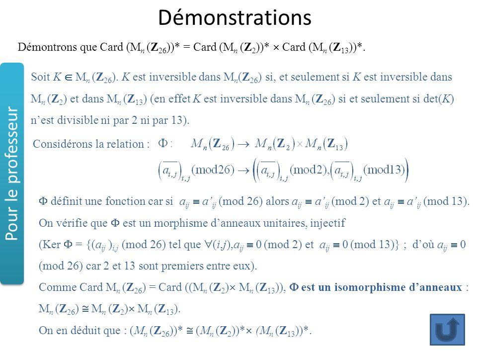 Démonstrations Démontrons que Card (M n (Z 26 ))* = Card (M n (Z 2 ))*  Card (M n (Z 13 ))*. Considérons la relation :  définit une fonction car si