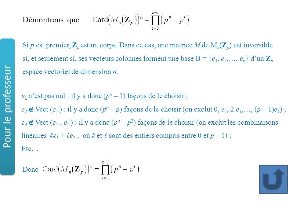 Démontrons que Si p est premier, Z p est un corps. Dans ce cas, une matrice M de M n (Z p ) est inversible si, et seulement si, ses vecteurs colonnes